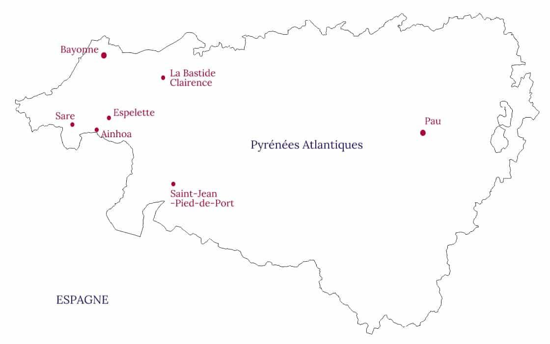 Carte des plus jolis villages du Pays basque