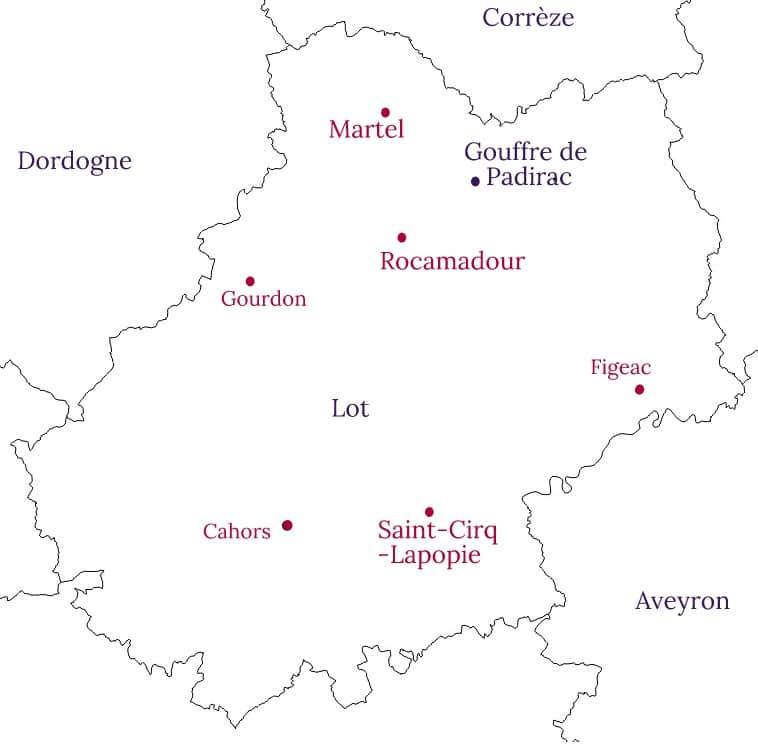 Roadtrip dans le Lot - carte des sites